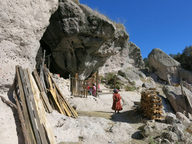 Cave dwelling of a Tarahumara family