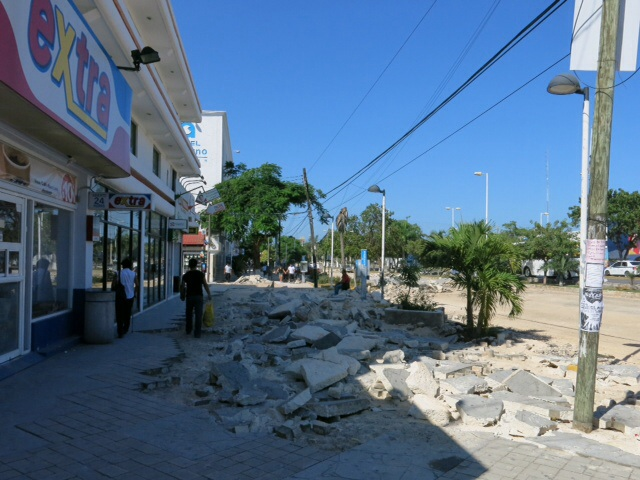 Pavement repairs in Cancun