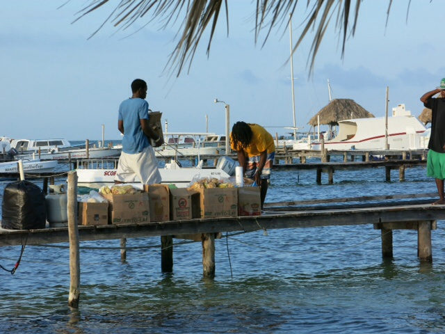 At the jetty in Caye Caulker