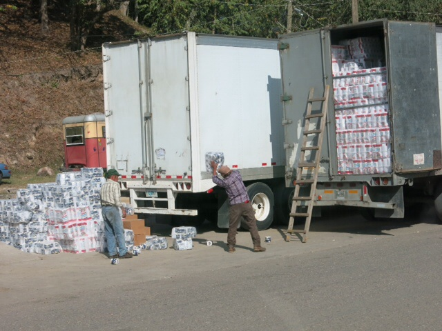 Emptying the toilet roll truck at the Honduras border