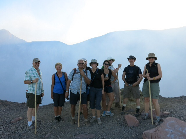 Al, me, Gislaine, John, Denise, Erin, Becky, Alan and Cherie on the edge of the crater