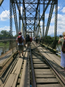 Crossing the bridge between Costa Rica and Panama