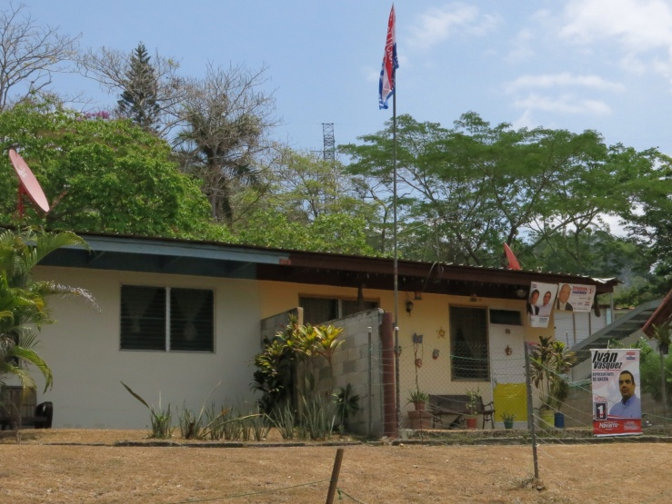 House with election flags