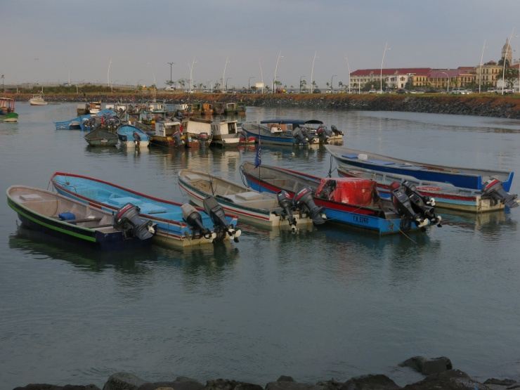 Fishing boats with Casco Viejo in the background