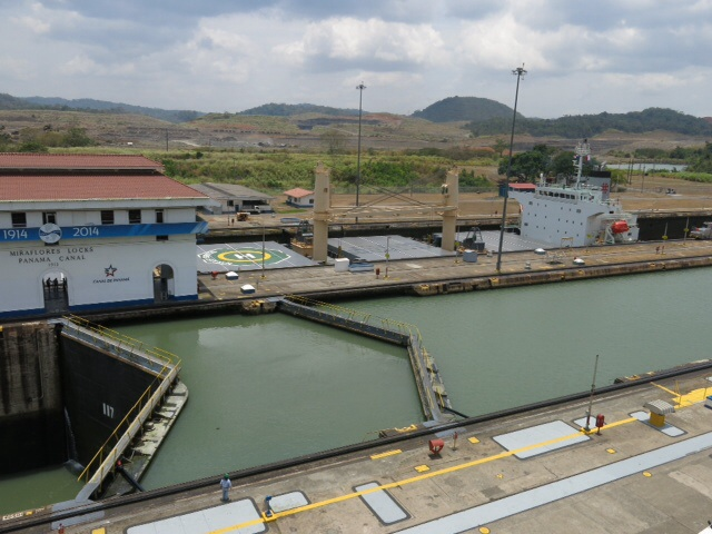 Grain carrier going through the Miraflores Lock