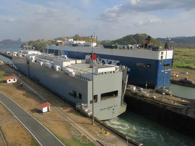 Two car carriers in the Miraflores Lock