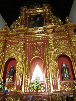 Lots of gold on the altar in the church at  La Popa