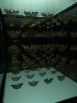 Gold earrings in the Gold Museum in Cartagena