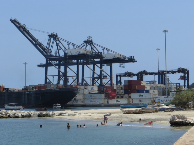 Swimmers at the port in Santa Marta
