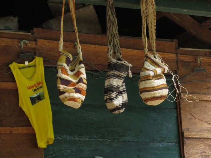 Bags of the Kogui hanging outside the cabana