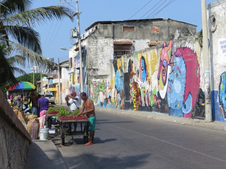 The street outside the hotel in Cartagena