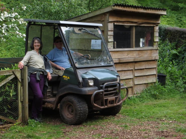 The Gardeners next to the 'thinking' shed