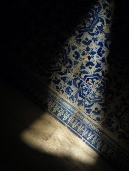Sunlight on some wall tiles in the Convent in Tomar