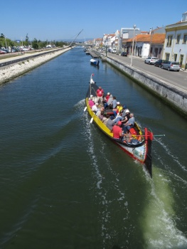 Moliceiro on a canal in Aveiro