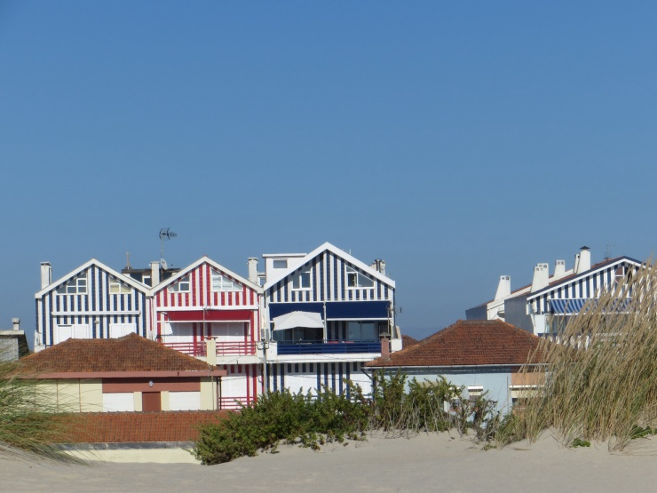 Houses across the dunes at Costa Nova