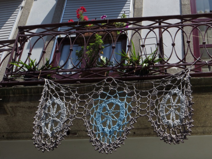 Crochet decoration on a balcony