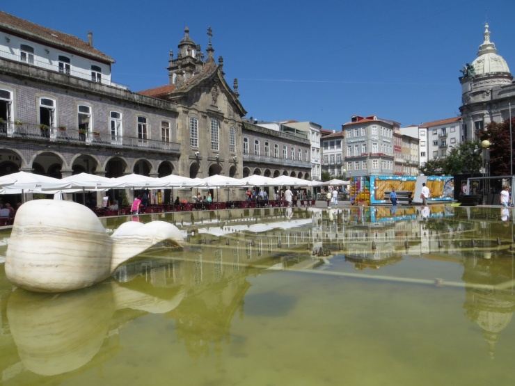 Main square in Braga - the fountains started 2 seconds after I took the photo!
