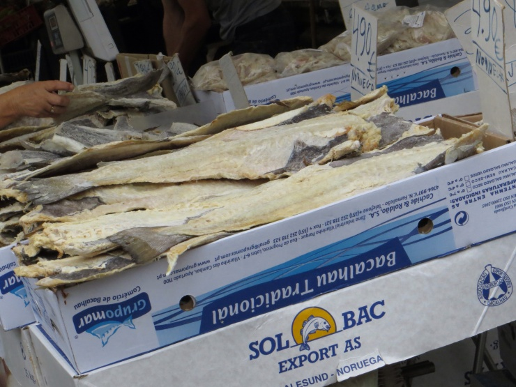 Very smelly salt cod in the market