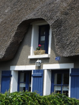 Thatch and window boxes are typical of the houses
