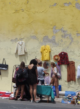 Buying clothes in the flea market