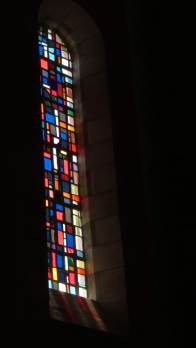 Modern stained glass window in the church