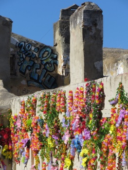 Flower garlands decorating walls of ruined building
