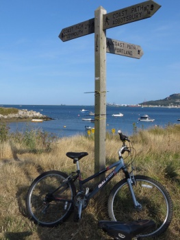 My borrowed bike on the coast path