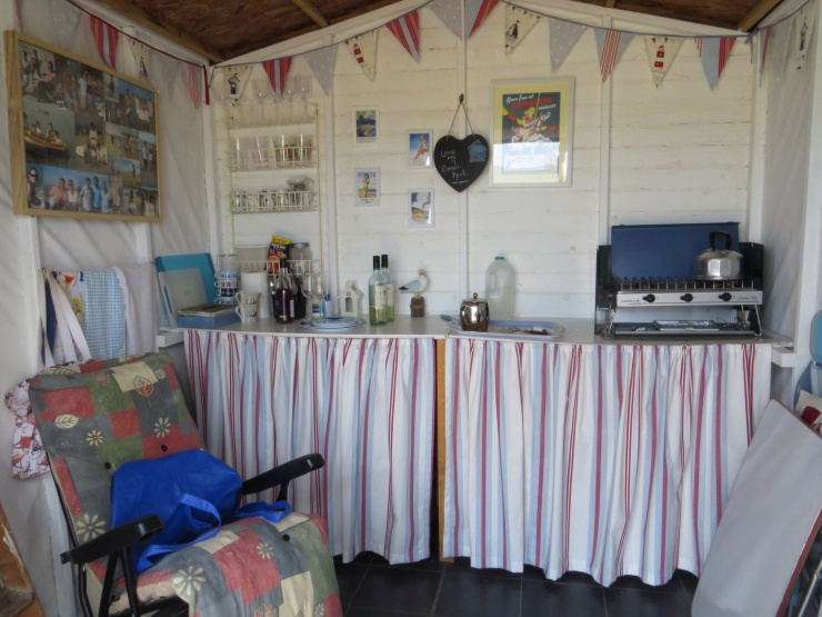 Inside the beach hut