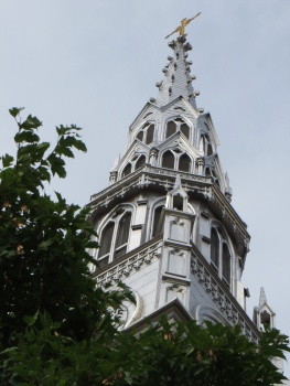 One of the spires of Notre Dame Basilica