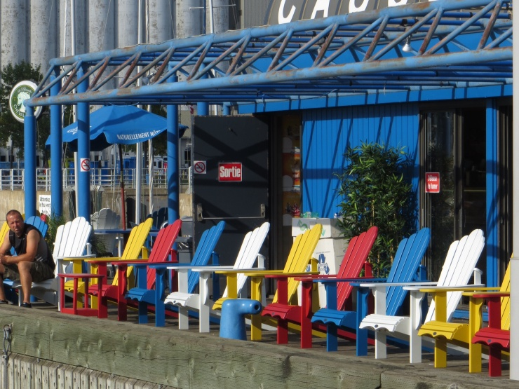 Chairs outside a cafe at the port