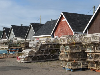 Lobster pots and fishermen's huts in North Rustico