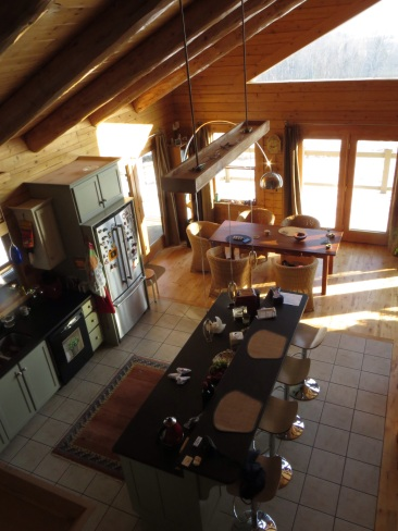 Looking down on the kitchen/dining area