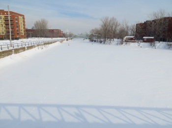 Frozen and snow covered Lachine Canal