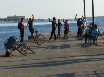 Aerobics on the jetty