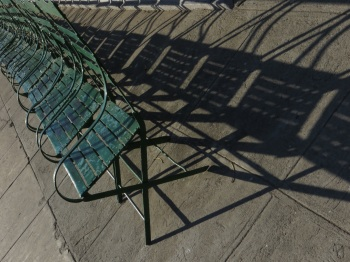 Chairs lined up in the Plaza