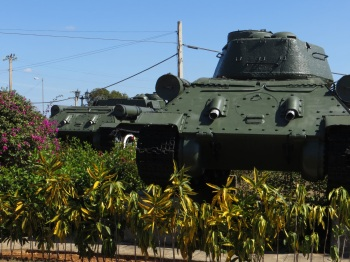 Tank parked in the garden of the Giron Museum