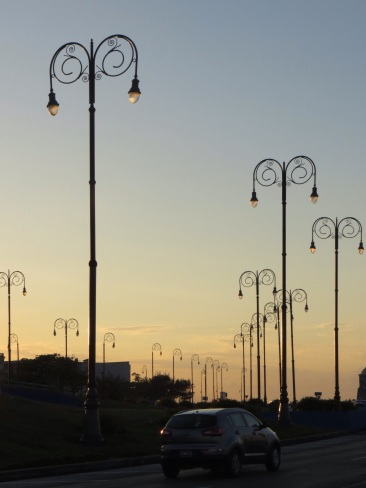 Street lights at sunset