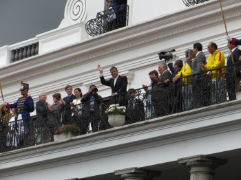 The President on the Palace balcony