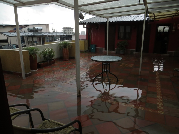 Flooded roof terrace