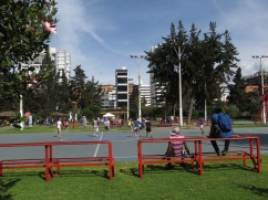 Playing soccer in Parque Carolina