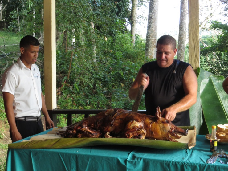 Willo chopping up the pig on palm leaves