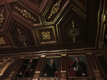 Ceiling and portraits of past President's in the Palace