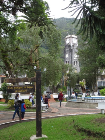 One of the two main parks in Banos