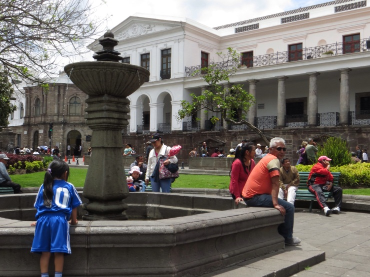 Fountain in Plaza Grande - a magnet for small children!