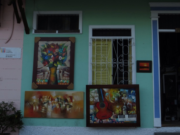Paintings outside a shop in the old part of Guayaquil