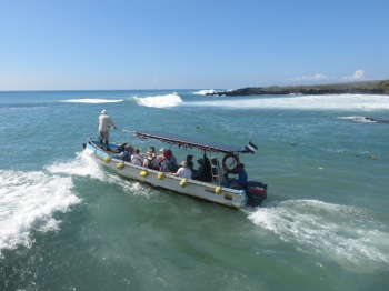 Water taxi leaving Floreana