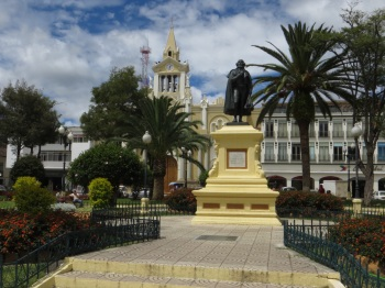 Cathedral and central plaza in Loja