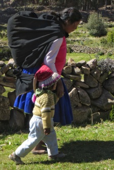 Woman carrying typical large bundle
