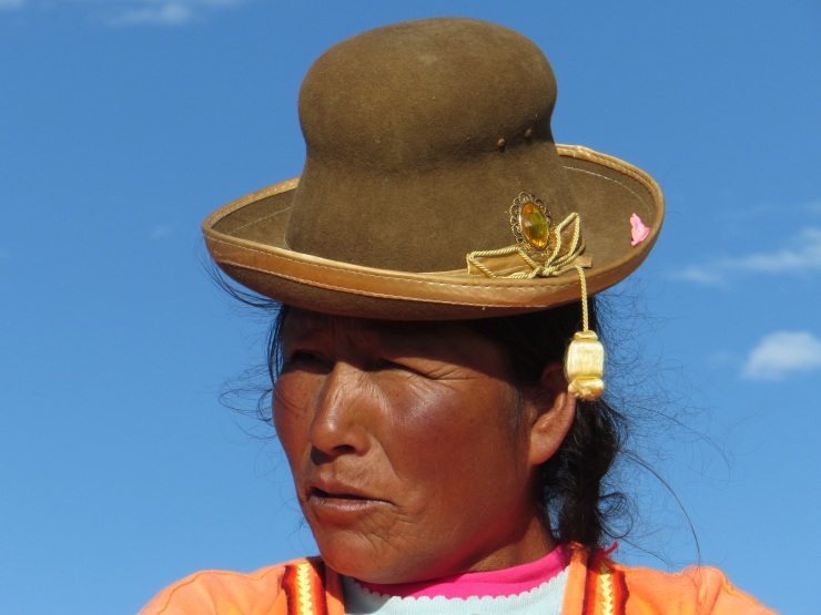 One of the ladies on the Uros Island
