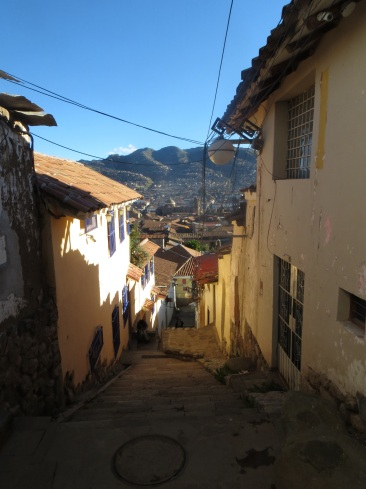 Narrow, steep and cobbled street in San Blas